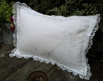 Antique Lace/Cutwork White Cushion