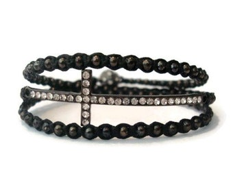 Black Beaded Macrame Wrap Cross Bracelet