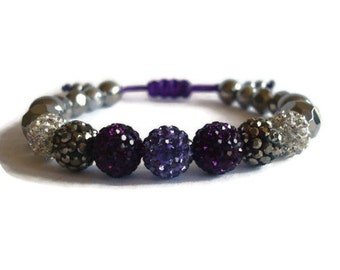 Purple and Lavender Rhinestone Beaded Bracelet