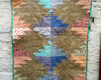 Modern Baby Quilt, lap quilt or Sofa Throw Patchwork Aztec Design in Pink and Blue Nursery Decor