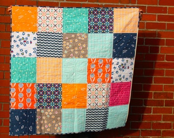Fresh Modern Patchwork Lap Quilt, Sofa Throw, Baby Blanket