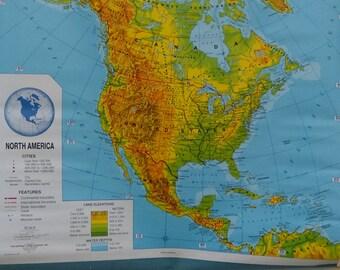 George F. Cram Vintage Pull down School Map North America/ Schoolhouse / Chart