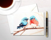 Christmas card holiday card bluebird card watercolor christmas card bird lover gift cuddling bluebird personal stationery set bird lover set
