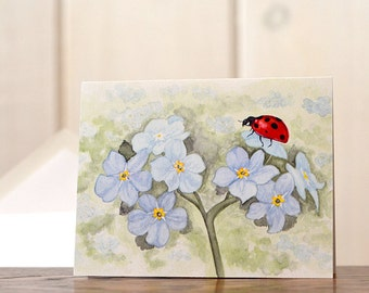 Ladybug stationery, personal stationery set, watercolor painting forget me nots, watercolor notecard set, art reprints, blank cards