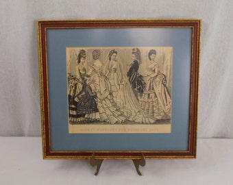 """Professionally Framed Antique Godey""""s Fashion For February 1872 Print - Victorian French Bridal Artwork - Art Nouveau Wall Hanging for Her"""