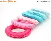 25% off Colorful set of 6 crochet wooden ring toys, Organic baby teether, Baby teething toy, all organic and eco-friendly