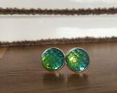 Green Mermaid Scale Post Earrings
