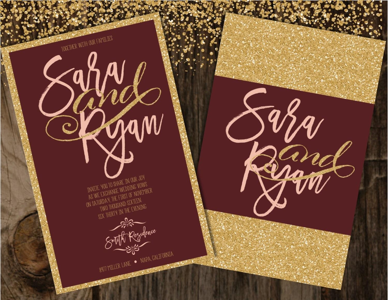 Burgundy And Gold Wedding Invitations: Blush And Burgundy Wedding Invitation Blush And Gold Wedding