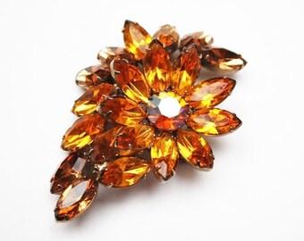 Rhinestone Brooch- Brown orange Crystal - Flower -   Floral Pin