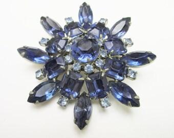Blue Rhinestone Flower Brooch Mid Century Atomic Pin