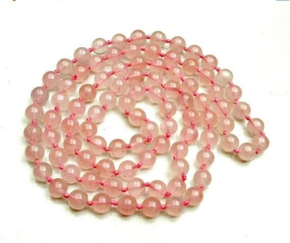 Rose Quartz Bead necklace - pink polished gemstone beads