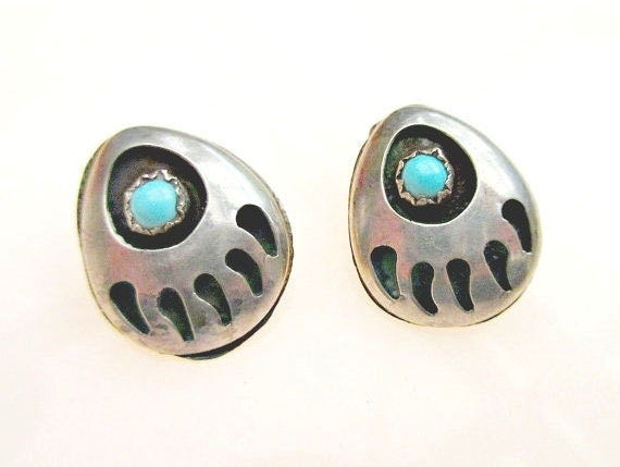 Sterling Bear Claw  earrings - Turquoise - Native American - NOS - South western - clip on  earrings