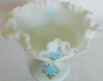 Vintage Fenton Signed Ruffled Blue Satin Footed Compote, Vintage Blue Satin Glass Compote, Fenton Signed Art Glass, Blue Satin Glass Compote