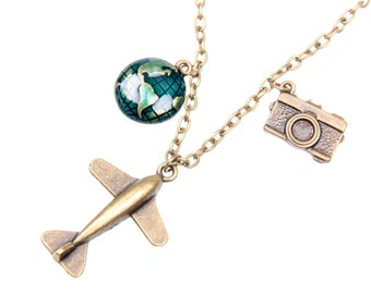 Necklace flying travel around the world