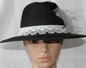 Handmade Black and White Ladies Fedora Dress/Church Hat