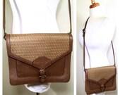 Vintage 1980s Fendi Crossbody Bag FF Fendi Tan Brown Leather and Canvas Medium Sized Handbag Designer Fendi Envelope Purse Shoulder Bag