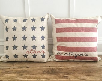 Stars and Stripes American Flag Pillow Cover Set