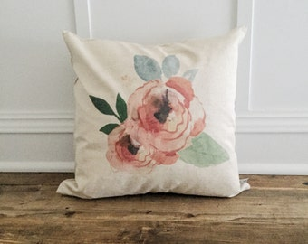 Floral Watercolor Pillow Cover