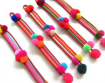 Pom Pom Bracelet, Cute Colorful Pom Pom Bracelet, Wholesale Friendship Bracelets, Bohemiam Jewelry,Hippie Jewelry, Wholesale Jewelry Gifts