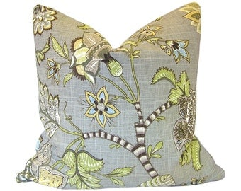 Custom Pillow Cover / Clarice Cir by P Kaufmann in Dove Grey Gray Floral / Both Sides / Made to Order
