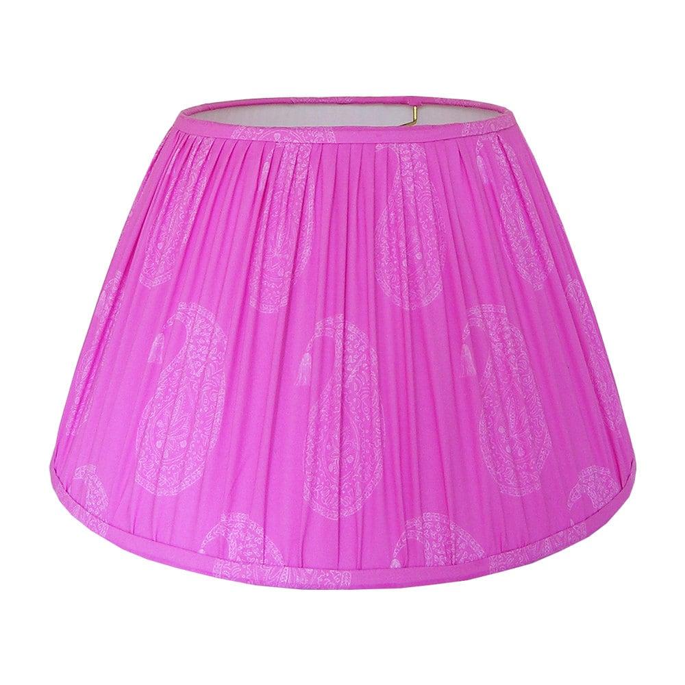 Gathered Lamp Shade Fuschia Lampshade Block Print Lamp