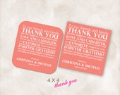 4X4 Wedding reception thank you place setting cards blush white letters Instant Download printable Just add your info and print!