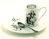 Alice in Wonderland Cup Sandwich Snack Plate Breakfast Set Eat Drink Me Bone China Tea or Coffee Whimsical Lewis Carrol White Brown Cup