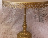 "Metal Cake Stand 12"" Classic Shabby Sparkle Gold Glitter Chic Silver Round Pedestal Rustic Wedding Party Classy Country Primitive"