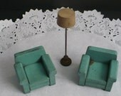 Vintage Strombecker Dollhouse Furniture - 3 Pc ... 2 Overstuffed Chairs, 1 Floor Lamp ... Late '30's  Early 1940's Pieces ... Turquoise Blue