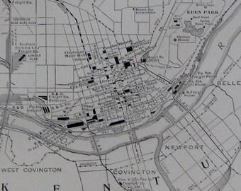 RARE Size Antique CINCINNATI Map of Cincinnati Ohio 1927 Black and White Gallery Wall Art Map Collector Gift for Traveler 6866