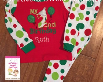Polka Dot Christmas PJ's Custom Applique Monogram Christmas PJ's Pajama In Stock and Ready to Ship Very Limited Matching Sibling Stripe