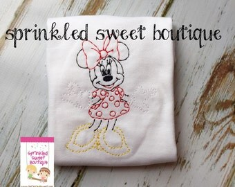 Custom Sketch Disney Minnie Mouse Applique Embroidered Girls Ruffle Shirt Onesie Perfect for First Disney Trip or Birthday Matching Brother