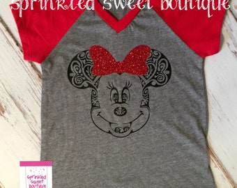 Vintage Minnie Mouse Glitter Bow Short Sleeve Raglan Baseball Shirt Women Kids Perfect for Disney World Trip First Birthday Matching Family