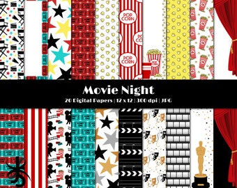 Digital Scrapbook Papers-Movie Night-Popcorn-Oscars-Theatre-Film Strip-Clapboard-Movie Theme-Movie Party-Stars-Instant Download Clip Art