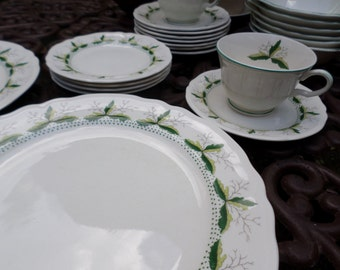 19 Pieces-Vintage Edwin Knowles-Leaf Dance-Fall Cups/Saucers/Dinner Plates/Lugged Bowls/Dessert/Cereal/ Dishes-Green Leaves Design