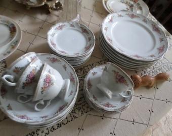 Vintage Schmidt Porcelana-Brazil-Porcelain Pretty Floral Dinner Plates/Soup Bowls/Dessert/Cups/Saucers