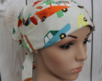 Wheels, Scrub Hat, Tie back Pleated Scrub Hat with band,Women's Surgical Scrub Hat,OR Nurses, Vet, Vet Tech