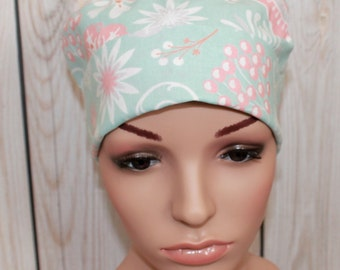 Spa Floral, Women's Tie Back Surgical Scrub Hat,Chemo Hat,Women's  Scrub Cap Vet, OR Nurses Hat,Biker