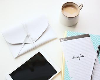White Faux Leather iPad Mini Sleeve - Ready To Ship - Envelope Case - Electronics Case