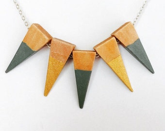 Geometric Triangle Wood Bead 925 Necklace gold and mint green Trending items gifts for her