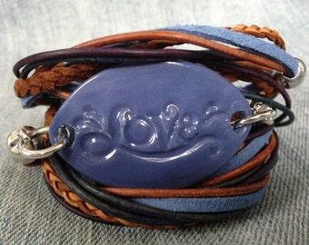 All You Need is Love Leather Wrap Inspirational Boho Ceramic Bracelet