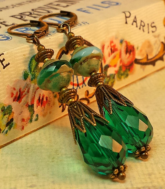 Shani Emerald: Emerald Green And Turquoise Saturn Beads Czech Glass Peacock