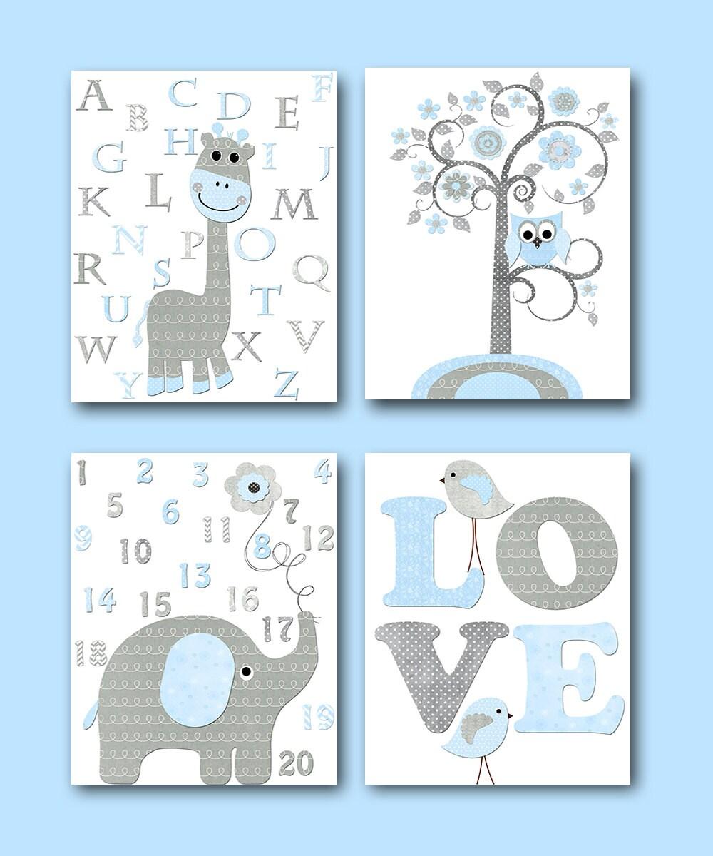 Blue Grey Elephant Decor Giraffe Decor For Nursery Canvas