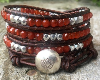 Carnelian leather wrap bracelet orange red sacral chakra autumn fall sterling silver lotus flower genuine faceted gemstones