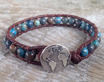 globe world blue sky jasper beaded leather wrap bracelet travel earth compass aqua
