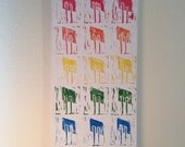 RAINBOW PRIDE original one of a kind linocut stamp print acrylic abstract painting art