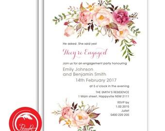 Rustic Roses Engagement Invite