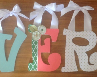 Nursery Letters- Personalized Name- Girl's Name-Avery-coral-gold-green Nursery- Wooden Hanging Letters - Honey Boo