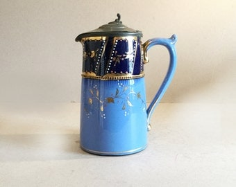 Sky blue and gold coffee pot, Blue gold floral coffee pot, Pewter lid, Dark blue, Two tone pot, Ceramic coffeepot