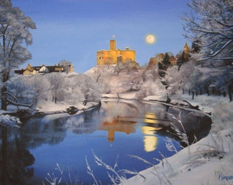 Warkworth Castle in Snow- Limited Edition Print (Small)
